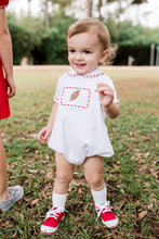 Smocked Football w Red Piping Knit Bubble