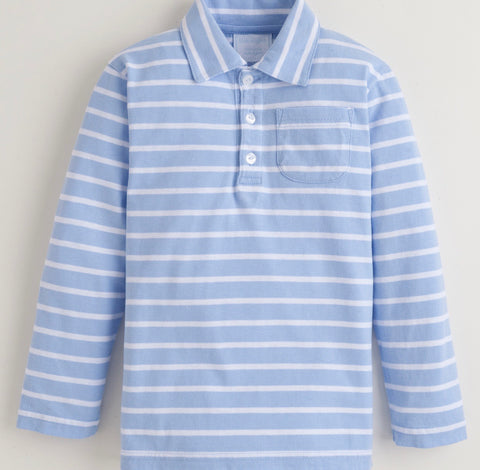 Blue Stripe Knit Polo