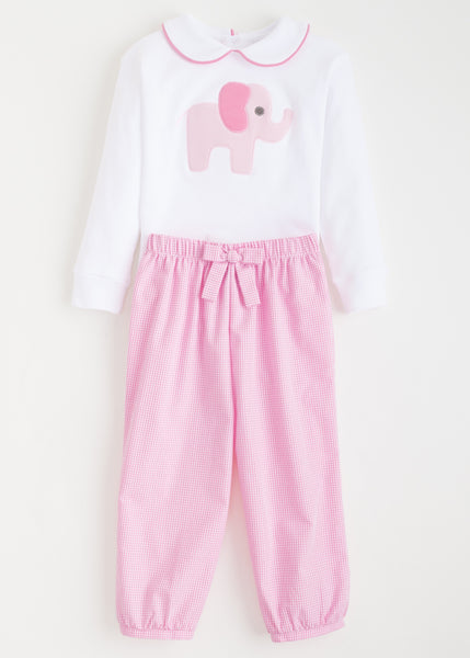 Pink Elephant Appliqué Set