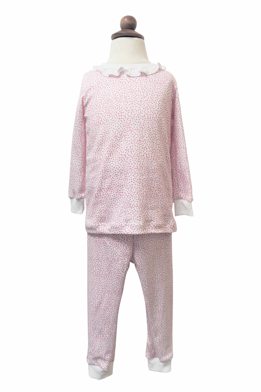 Pink Cheetah Ruffle Neck Pajama Set