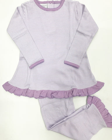 Purple Stripe Pant Set w/ Ruffles