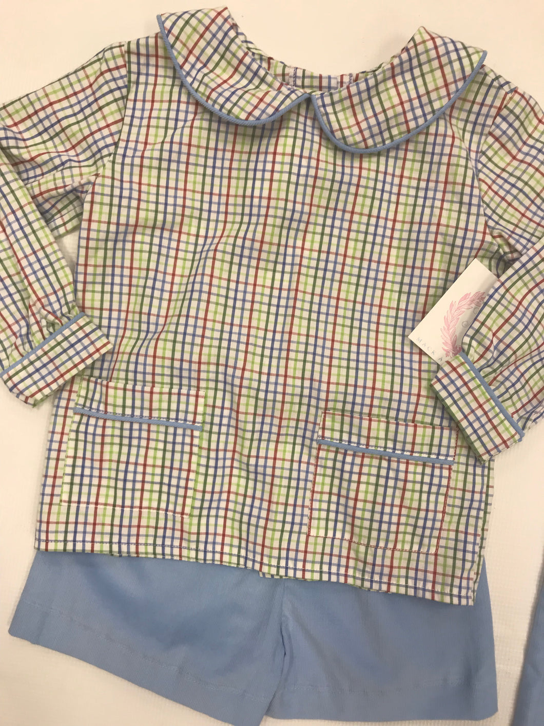 Saddlebrook Plaid Parker Shirt with Blue Cord Shorts
