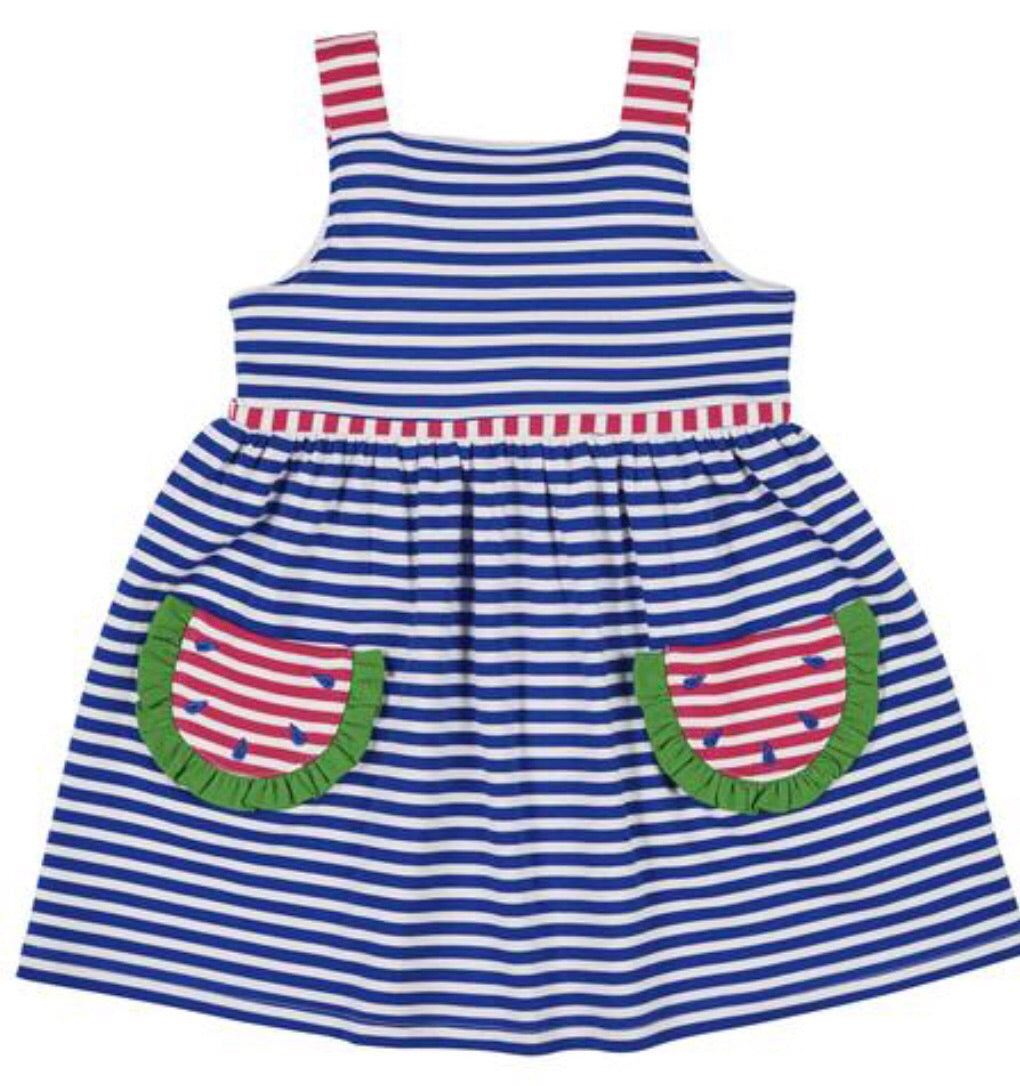 Royal Stripe Knit Watermelon Dress