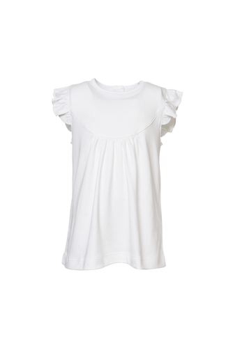 White Ruffle Sleeveless Knit Top