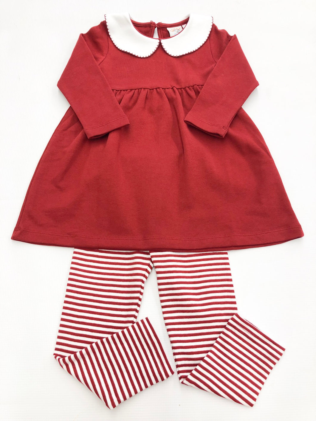 L/S Knit Burgundy Dress w Stripe Leggings