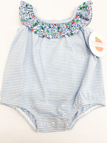 Blue Stripe Bubble w Salem Floral Ruffle