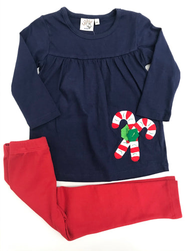 Candy Canes w Holly Legging Set