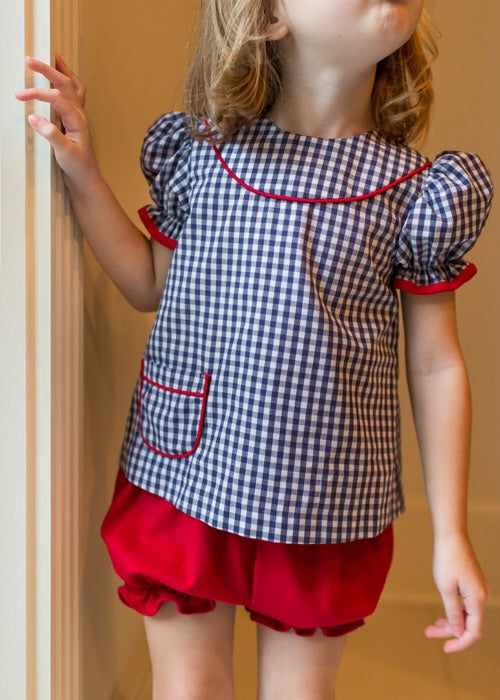 Navy Gingham Top with Red Bloomers