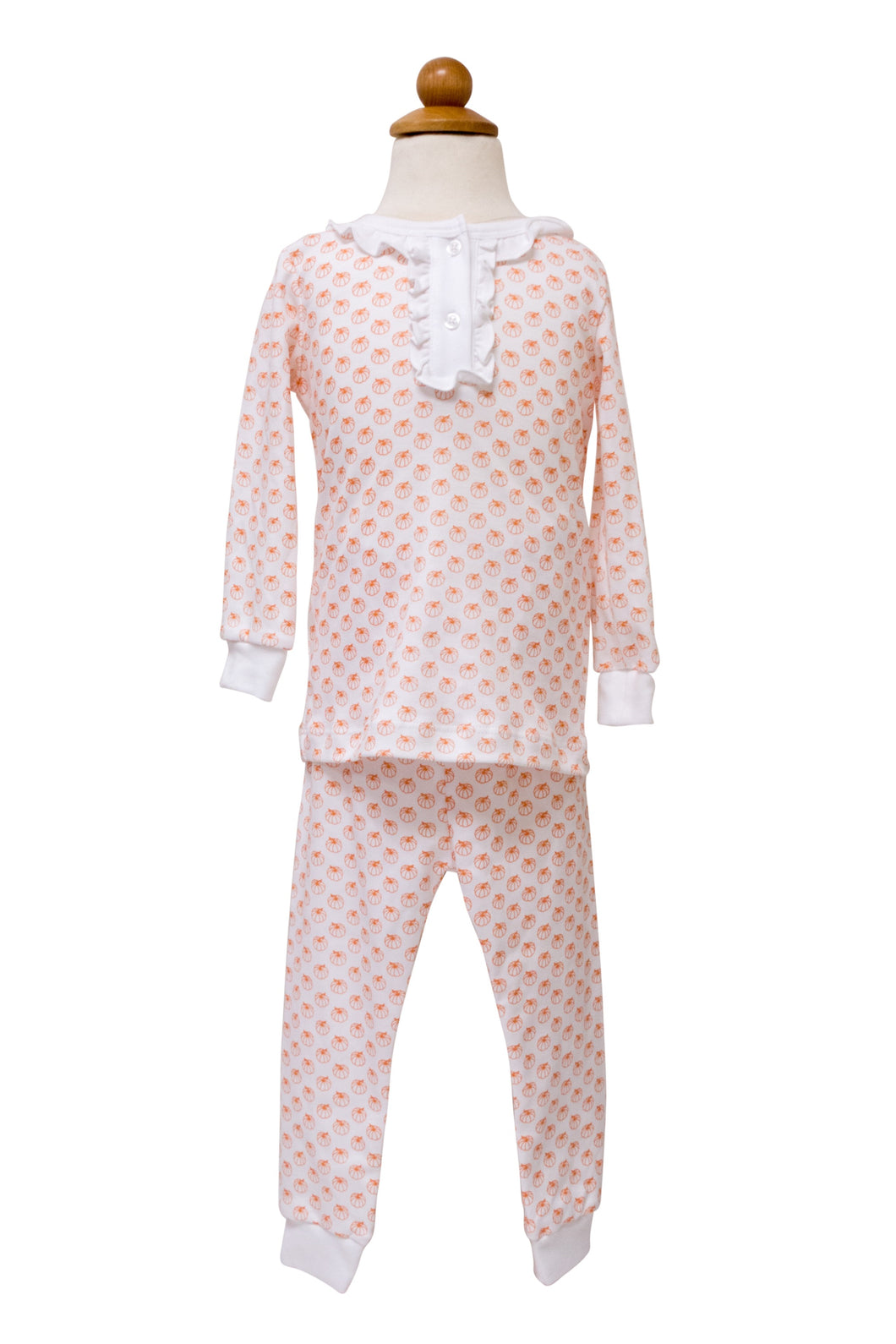 Girl's Pumpkin 2pc Ruffle Pajama Set