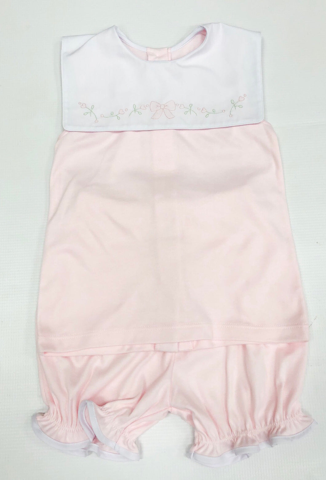 Pink Knit Bloomer Set w/ Bow Embroidery