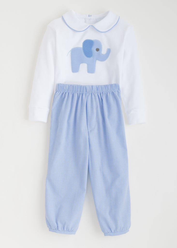 Blue Elephant Applique Set