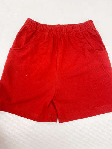 Red Knit Shorts w/ Pockets