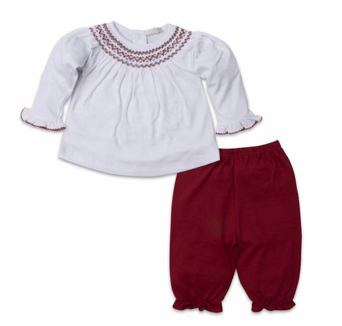 Red/Green Handsmocked Pant Set
