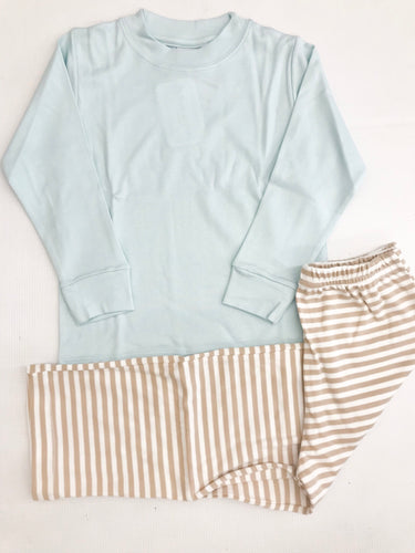 Blue Shirt w/ Tan Stripe Pant Set