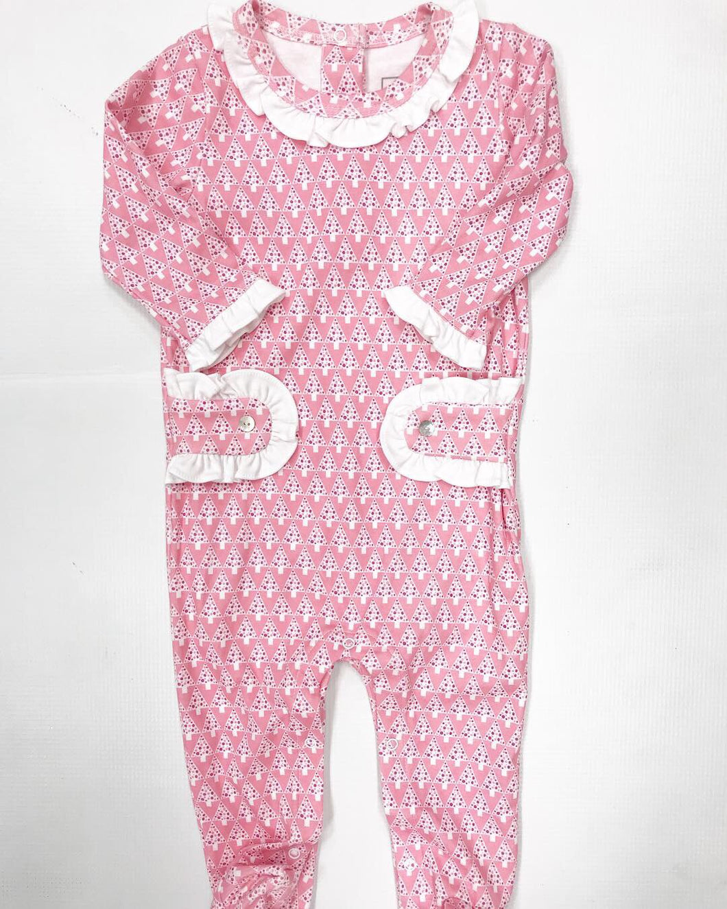 Pink Mod Trees Footed Romper