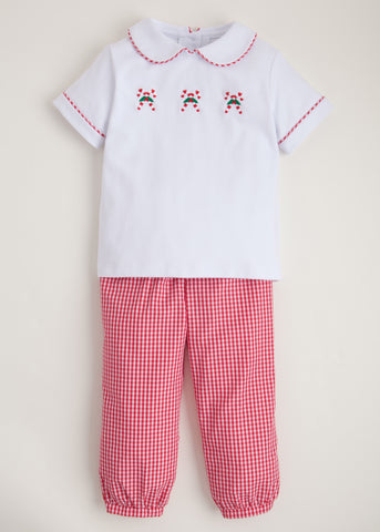 Candy Cane Appliqué Pant Set