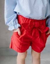 Red Corduroy Bow Short