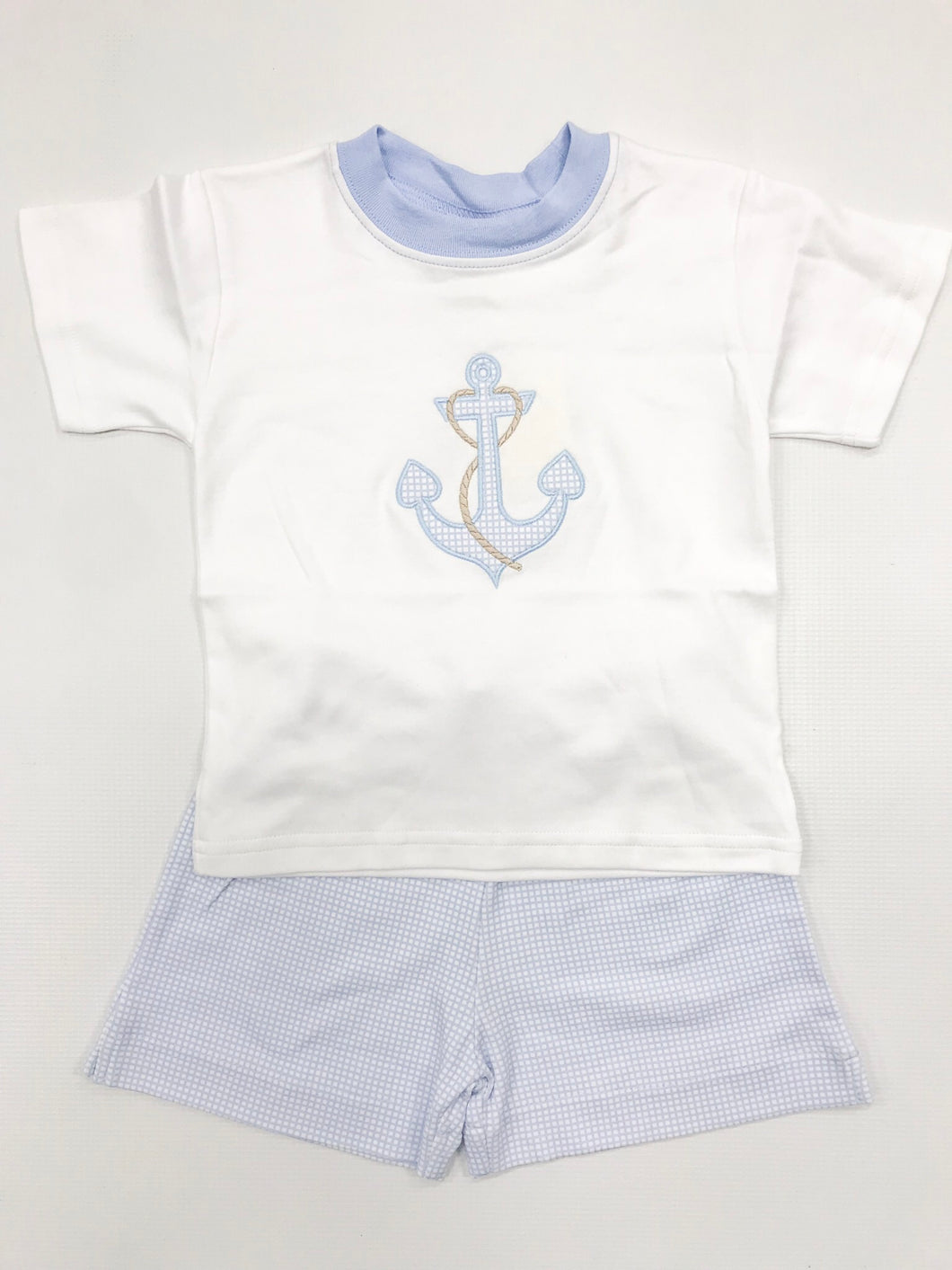 Lt. Blue Gingham Sailor Short Set
