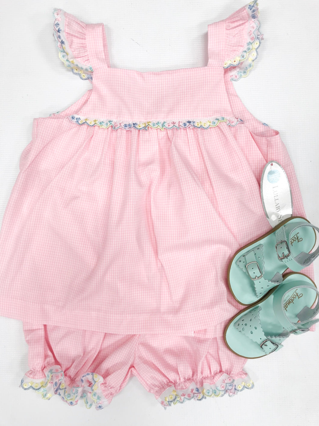 Pink Mini Gingham w Multi Eyelet Trim Swing Set