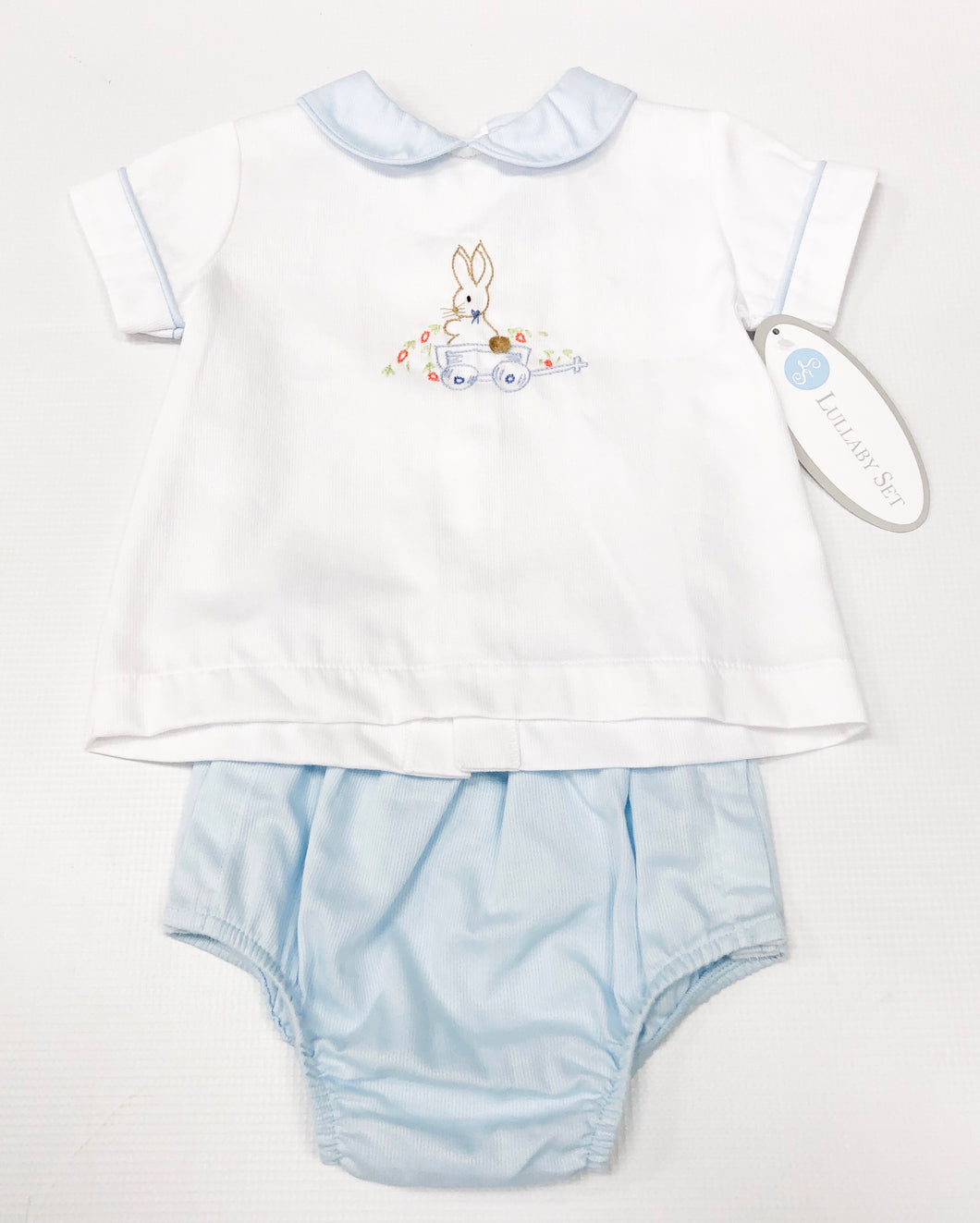 Boys Bunny Embroidery Diaper Set