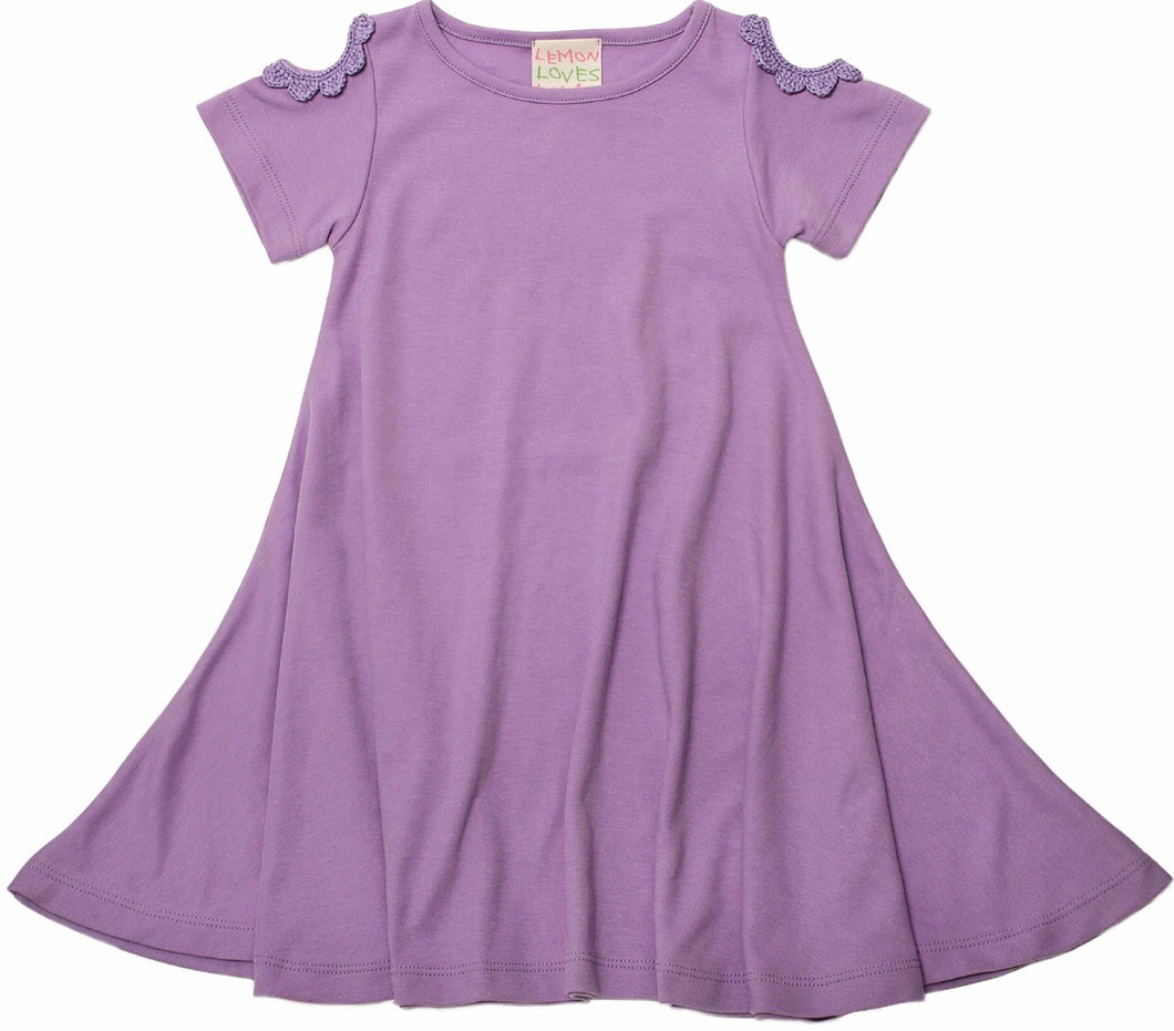 Lilac Daisy Shoulder Twirl Dress