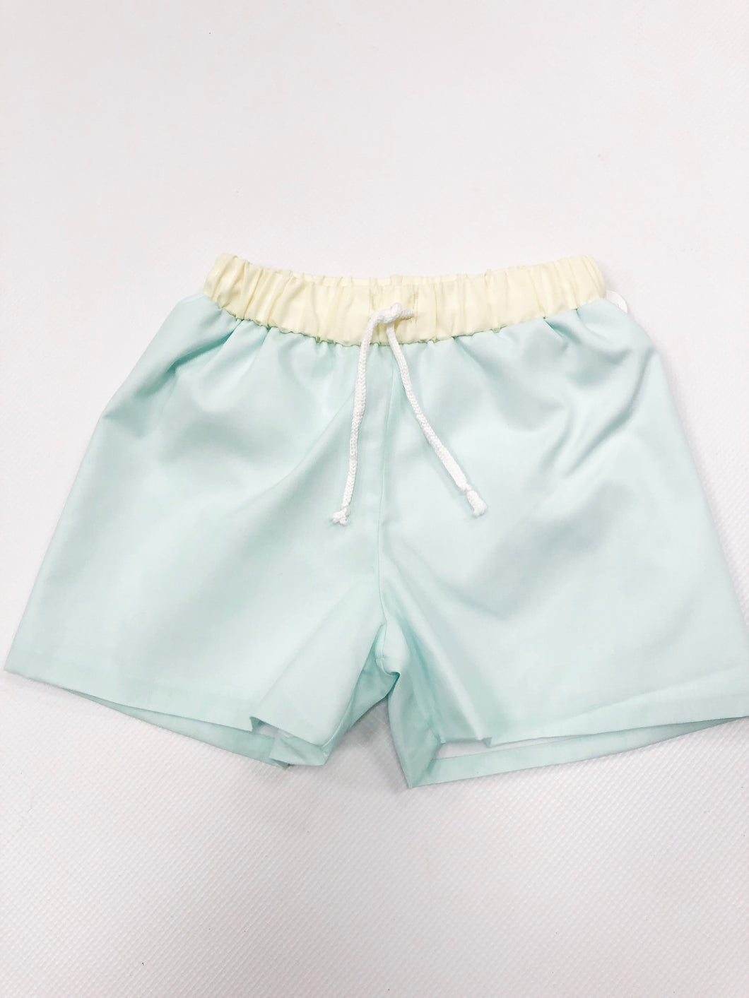 Mint and Yellow Swim Trunks