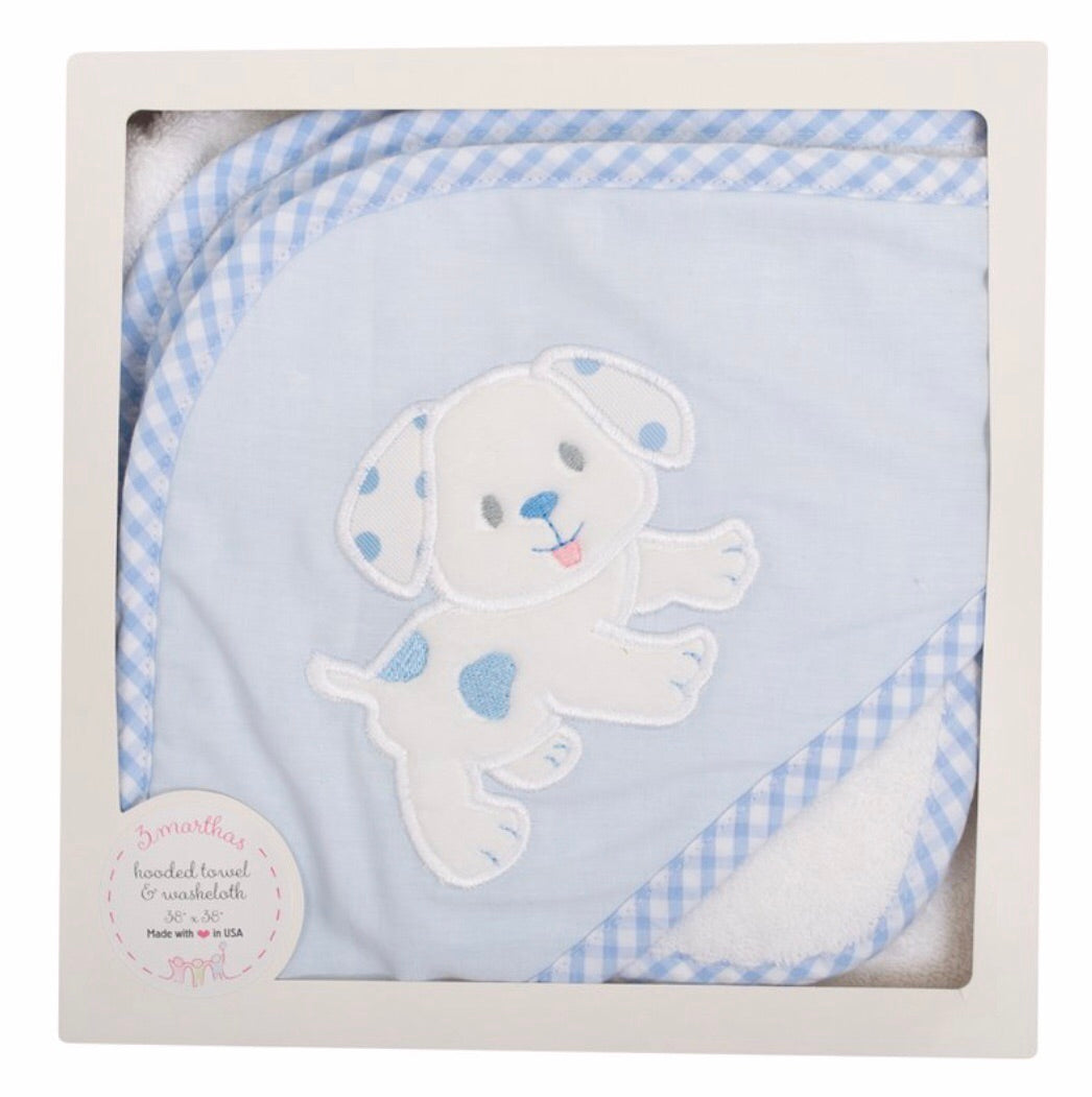 Blue Puppy Hooded Towel/Wash Cloth Set