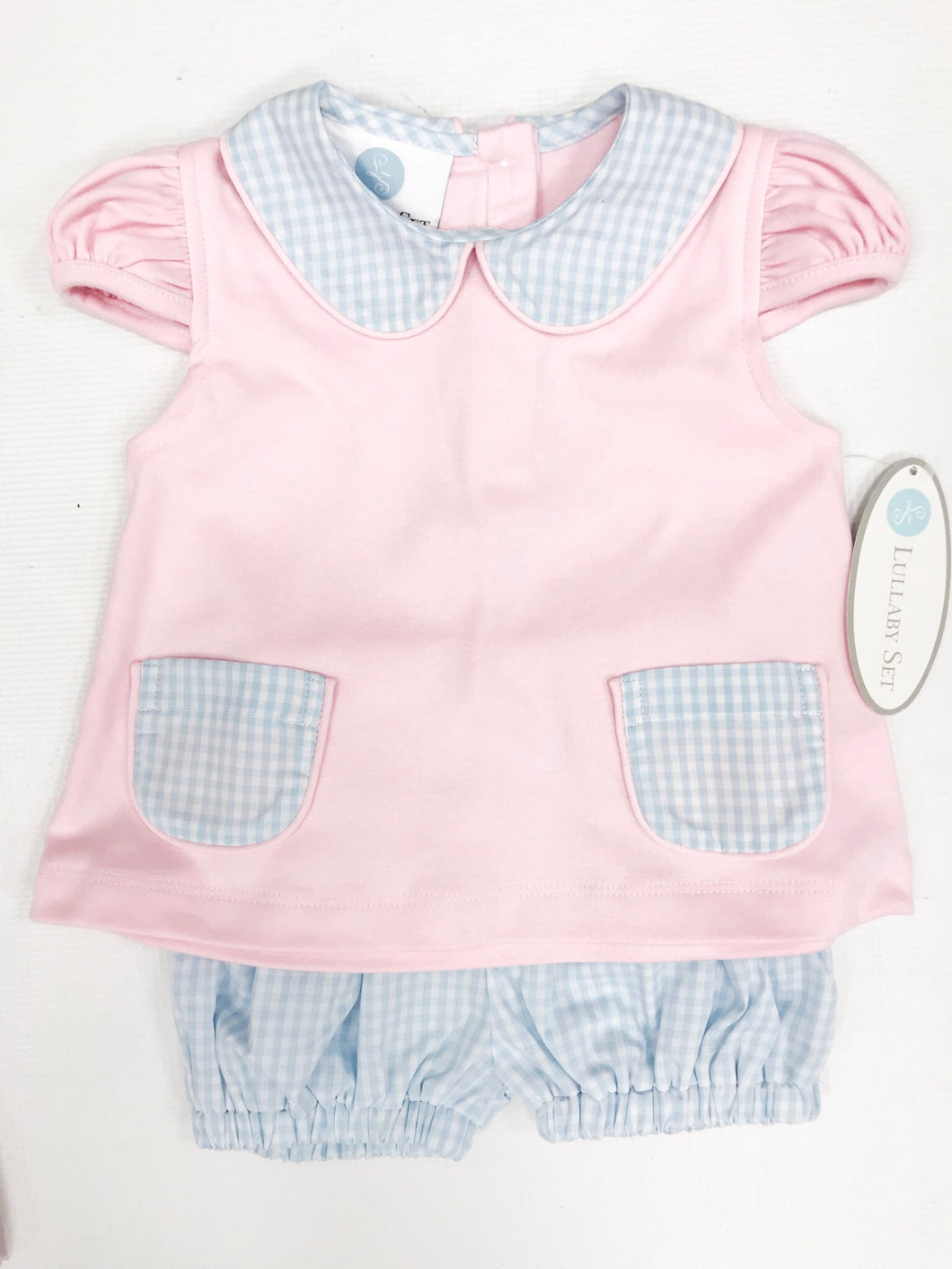 Pink Knit Top w Lt Blue Gingham Collar and Bloomer Set
