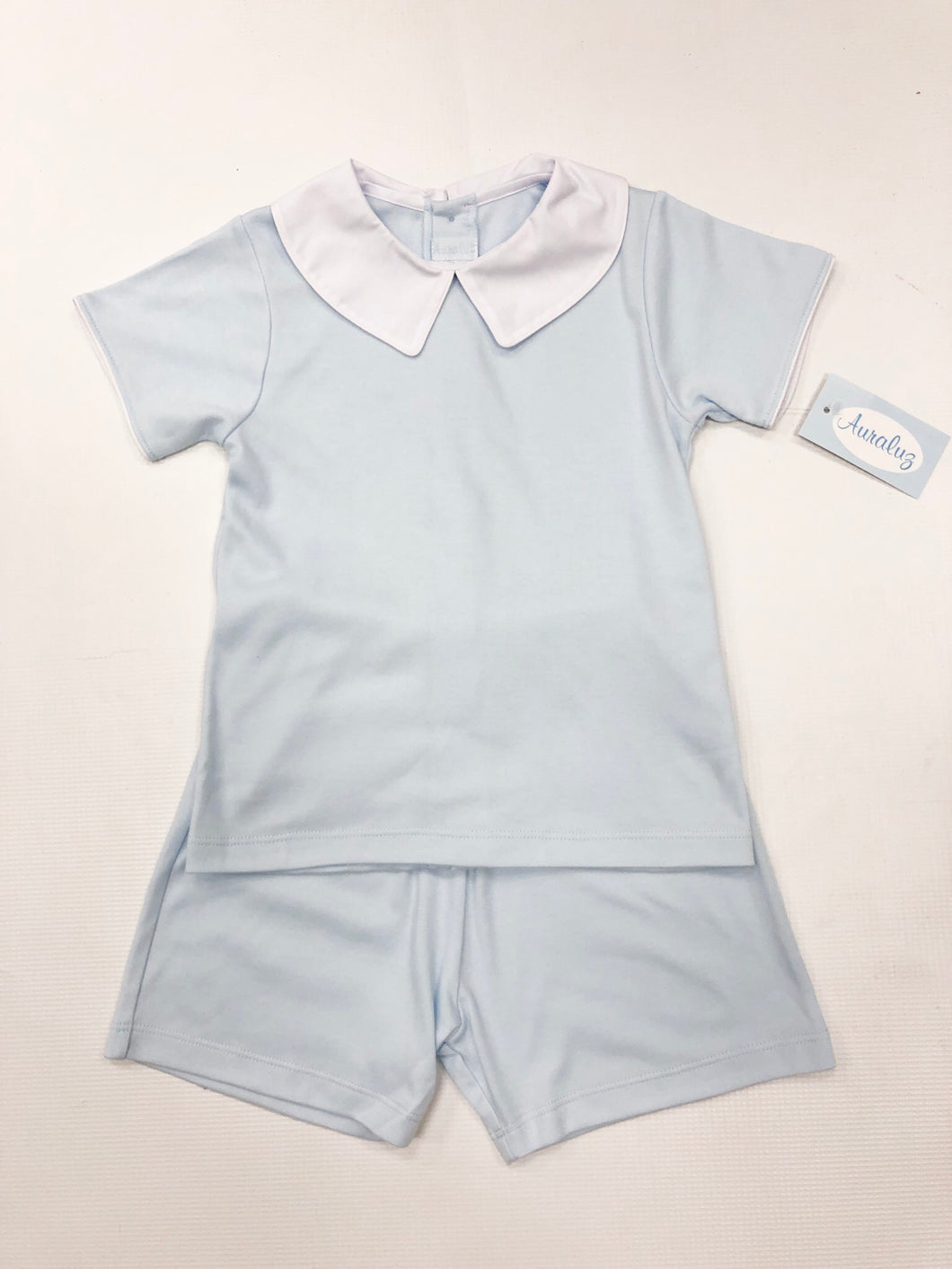 Blue Knit Blank Short Set