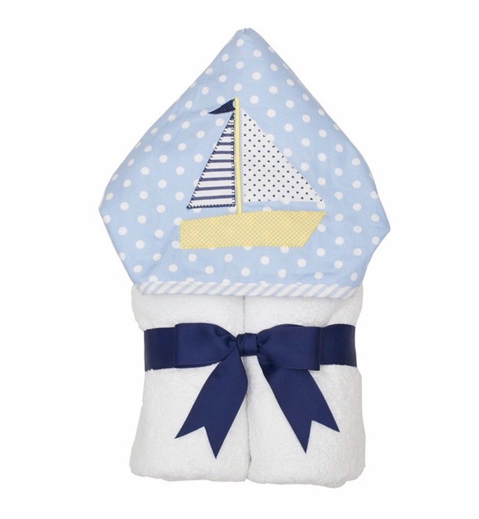 Blue Sailboat Everykid Towel w/ Applique