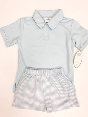 Light Blue Polo w Gingham Trim Short Set
