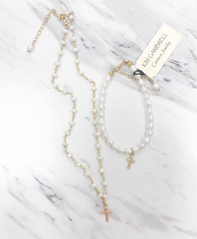 Rosary Chain Pearl Necklace w/ Cross