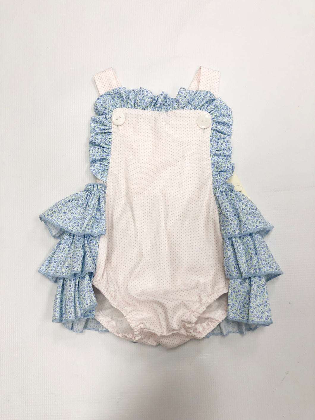 Pink Dot/ Floral Ruffle Sunsuit