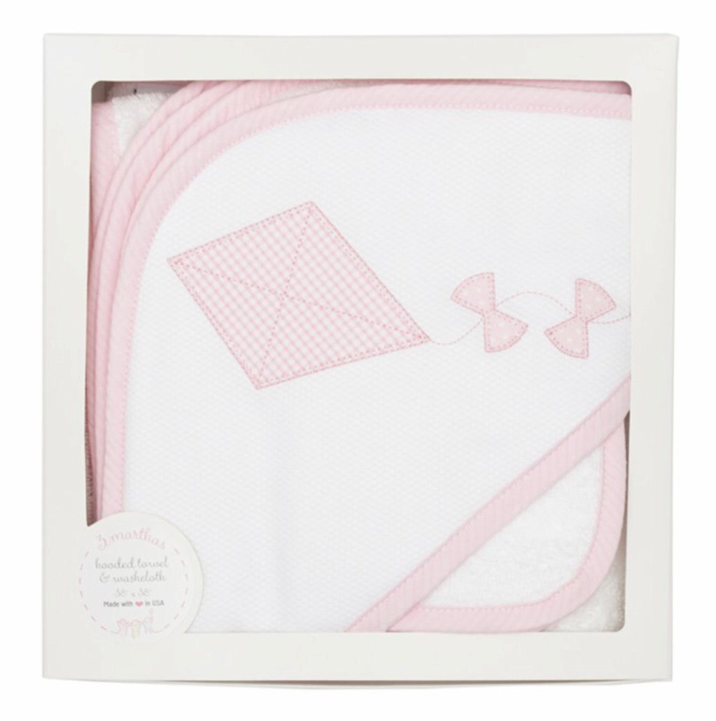 Pink Kite Hooded Towel/Wash Cloth Set