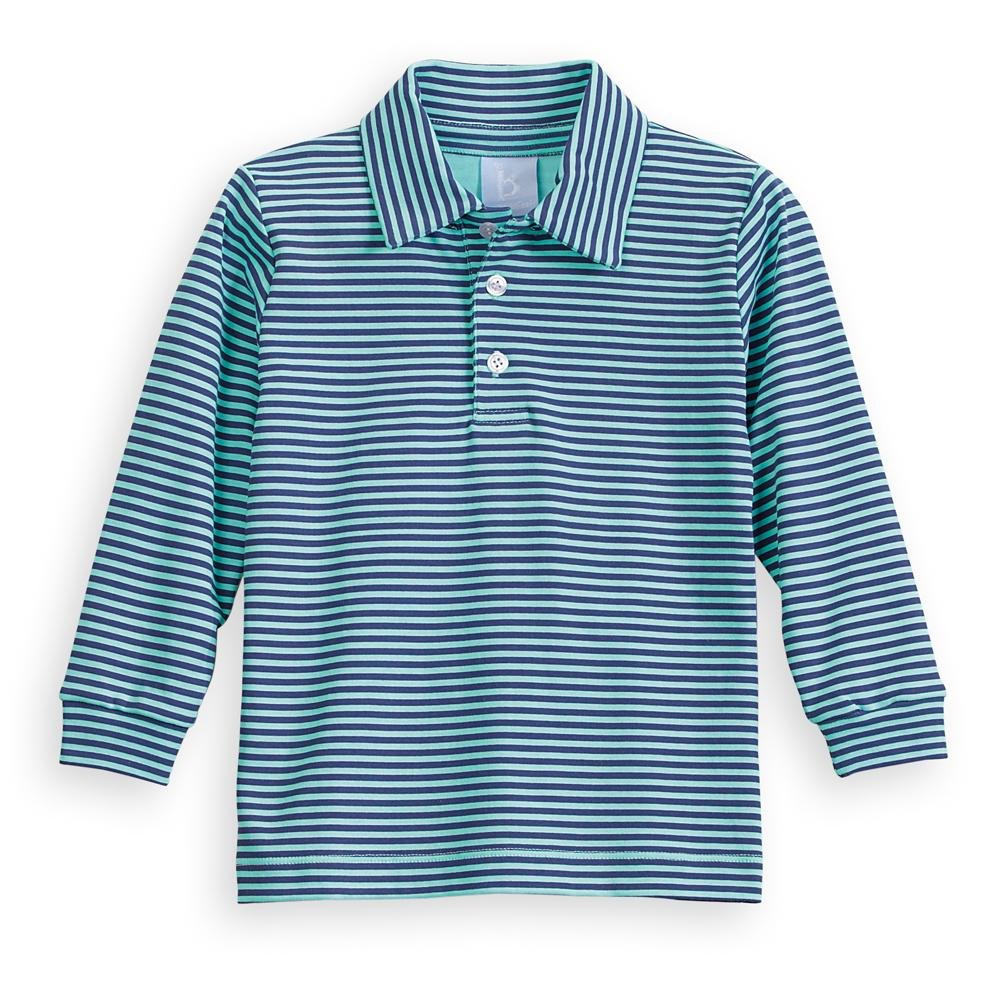 Striped Pima Polo Tee - Navy/Turquoise