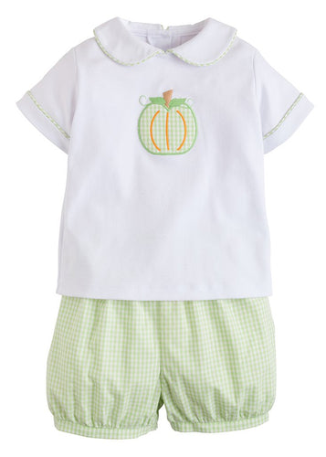 Pumpkin Applique Peter Pan Short Set