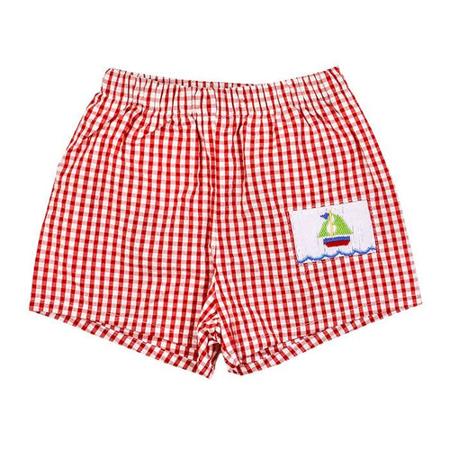 Smocked Sailboat Trunks