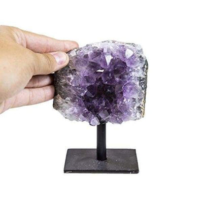 Rock Paradise Amethyst Cluster Stone on Metal Stand - Healing Crystals and Stones - Home Décor Accents - Chakra Stones - Crystal healing