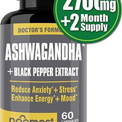 Ashwagandha Capsules 2700mg 100% Pure Ashwagandha Root Powder & Black Pepper Extract Helps Natural Anxiety Relief for Adrenal Support