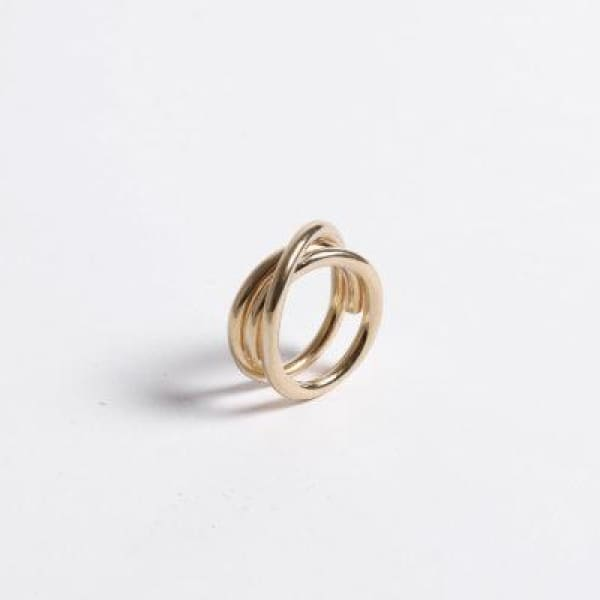 CROSSED REVERSIBLE RING GOLD PLATED - jewelry