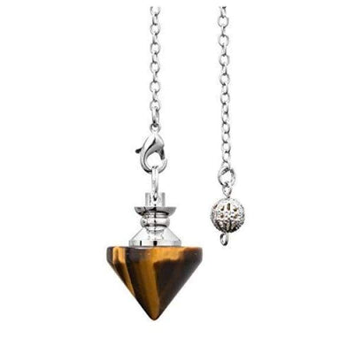 CrystalTears Natural Tiger Eye Crystal Dowsing Pendulum Cone Shape Healing Crystal Points Pendant Pendulum for Divination Reiki Meditation
