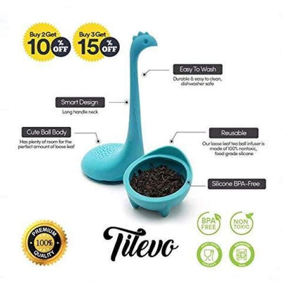 Tilevo Tea Infuser Set of 2 - Dinosaur Loose Leaf Tea Infusers with Long Handle Neck & Cute Ball Body Lake Monster Silicone Tea Strainer &