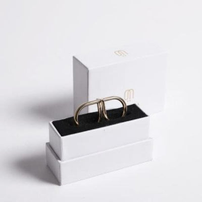 DOUBLE 2 DOTS REVERSIBLE RING GOLD PLATED - jewelry