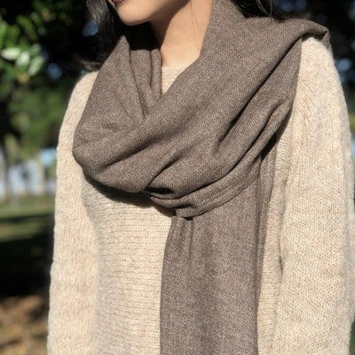 Espresso Handloom Cashmere Scarf - Women's Fashion - Women's Accessories - Women's Scarves