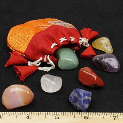 Dancing Bear Healing Crystals Meditation Altar Kit (35 Pc Set) + Instruction Guides Rough & Tumbled Chakra Balance Stones & Grid Abalone