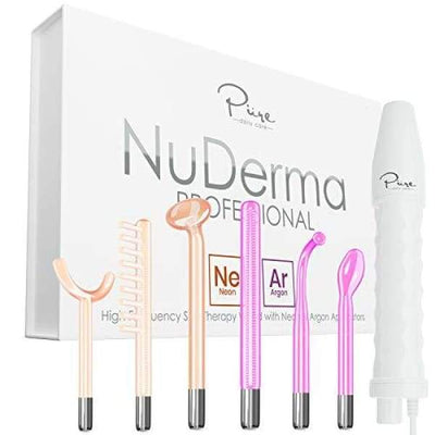 NuDerma Professional Skin Therapy Wand - Portable Handheld High Frequency Skin Therapy Machine with 6 Neon & Argon Wands - Acne Treatment -