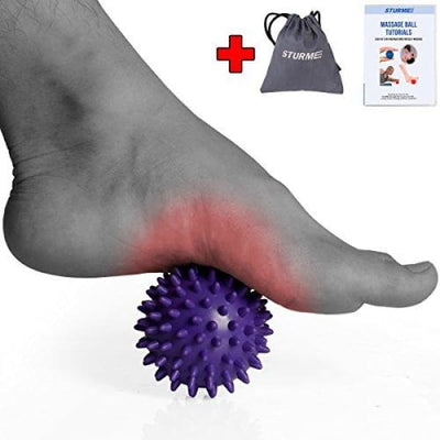STURME Massage Ball Spiky Deep Tissue Foot Back Plantar Fasciitis & All Over Body Deep Tissue Muscle Therapy - Includes Free Tutorial Holder