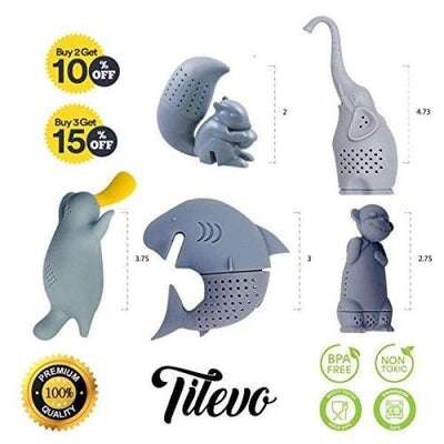 Tilevo Tea Infuser Set of 5 - The Cute Loose Leaf Silicone Tea Steeper Ball Strainer Diffuser with Gift Box - Includes Animal Monkey