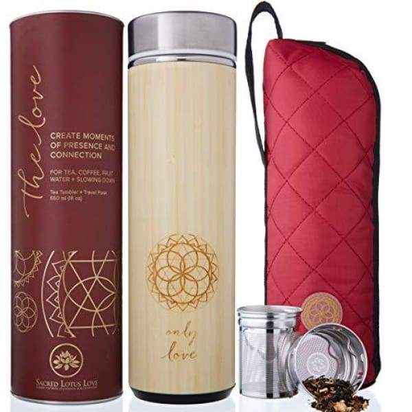 The Love Bamboo Tea Tumbler Thermos with Strainer and Infuser + Sleeve | NEW Leak-proof Lid. 511ml/18oz for Loose Leaf Tea Coffee & Fruit