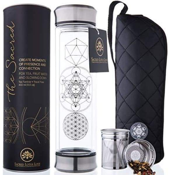 The Sacred Glass Tea Infuser Bottle + Strainer for Loose Leaf Herbal Green or Ice Tea. 415ml/14oz Cold Brew Coffee Mug + Fruit Infusions